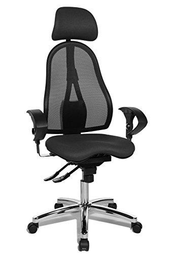 Topstar Sitness 45, Fitness-Drehstuhl, Bürostuhl, Schreibtischstuhl, inklusive höhenverstellbare Armlehnen und Kopfstütze, anthrazit