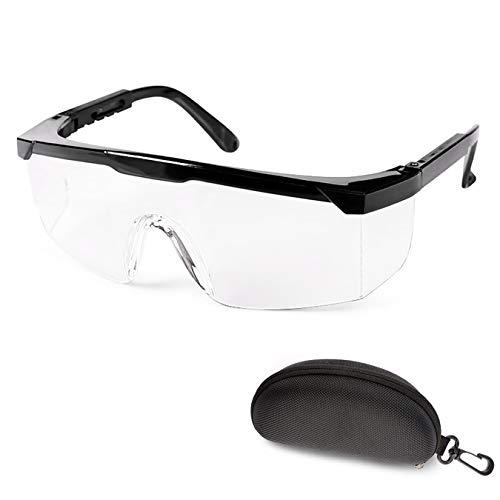 Schutzbrille Augenschutz Schutzbrillen Arbeit mit Klaren Gläsern Protective Glasses inkl. Schutzbox (schwarz)