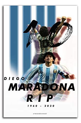 YITUOMO Diego Maradona Decoración de pared para baño de 24 x 36 pulgadas, póster deportivo para pared de jugador de fútbol argentino, arte para dormitorio de niños y niñas, sin marco