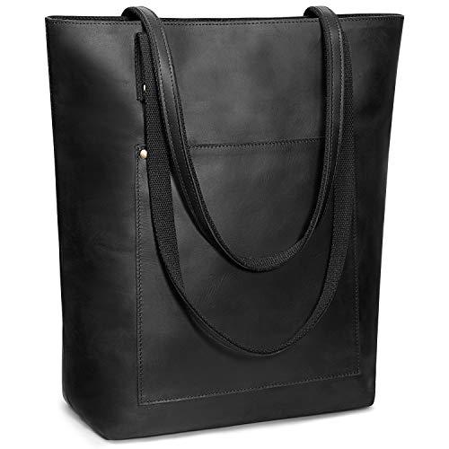 S-ZONE Bolso de mano de cuero genuino vintage para mujer, bolso de mano de trabajo grande (negro)