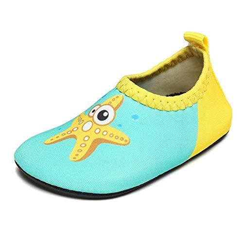 GDSSX 【 Zapatos de Playa Zapatos Descalzos para niños con Piso Delgado Zapatos para Nadar Zapatos de río con Fondo Suave Zapatos para niños pequeños 】 (Color : Yellow Starfish, Size : 17-18)