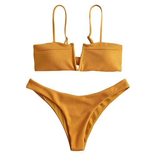 ZAFUL Swimwear V-Wired Ribbed Textured Tie Knot Back Padded Bikini Thong Two Piece Swimsuits Bee Yellow L