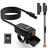 Extractme Motorcycle USB Charger SAE to USB Adapter Kit with Voltmeter and Power Switch, Waterproof Motorcycle Dual USB Quick Charger for Smart Phone Tablet GPS