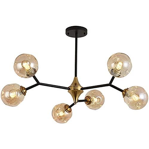 BINHC Lámpara de Techo Tipo Candelabro, Lámpara de Techo Sputnik Industrial Negra Contemporánea Dorada con 20 Esferas de Vidrio, Suspensión B, Iluminación,a,6 Luces