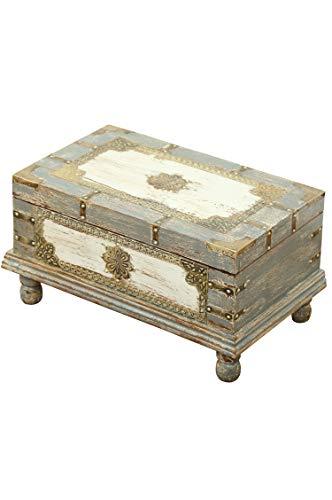 Orientalische Truhe Kiste aus Holz Arjuna Grau - 47cm groß | Vintage Sitzbank mit Aufbewahrung für den Flur | Aufbewahrungsbox mit Deckel im Bad | Betttruhe als Kissenbox oder Deko im Schlafzimmer - 2