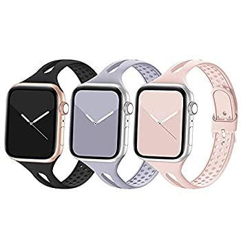 Bandiction Compatible with Apple Watch Band 38mm 40mm 42mm 44mm Breathable Women Narrow Slim iWatch Bands Silicone Sport Band Replacement Compatible for iWatch Series 6 SE 5 4 3 2 1 3 Pack