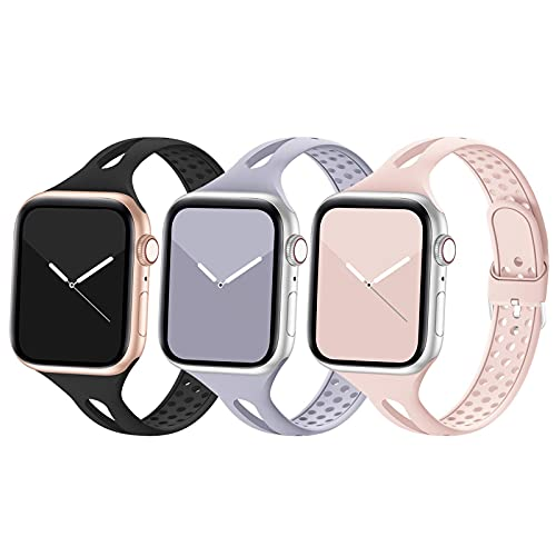 Bandiction Compatible with Apple Watch Band 38mm 40mm 42mm 44mm, Breathable Women Narrow Slim iWatch Bands Silicone Sport Band Replacement Compatible for iWatch Series 6 SE 5 4 3 2 1, 3 Pack