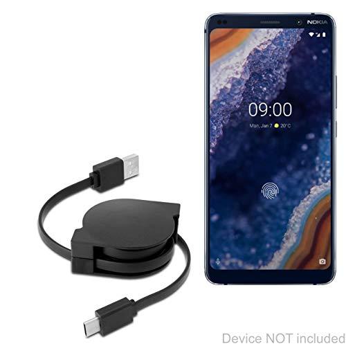 Cabo Nokia 9 PureView, BoxWave [Cabo PD DirectSync (90 cm) – USB-C para USB-C (100 W)] Cabo de carregamento e sincronização trançado de 0,9 m para Nokia 9 PureView – Preto