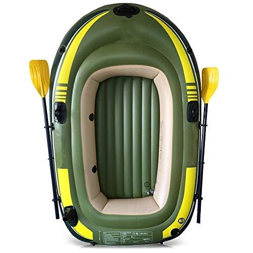 Aufblasbares Kajak Environmentally Friendly Thick Doppel Aufblasbare Fischerboot im Freien aufblasbaren Drei-Personen-Boot mit Paddle Pump Angeln Kajaks Inflatable Boat (Farbe: Grün, Größe: 280x144CM)