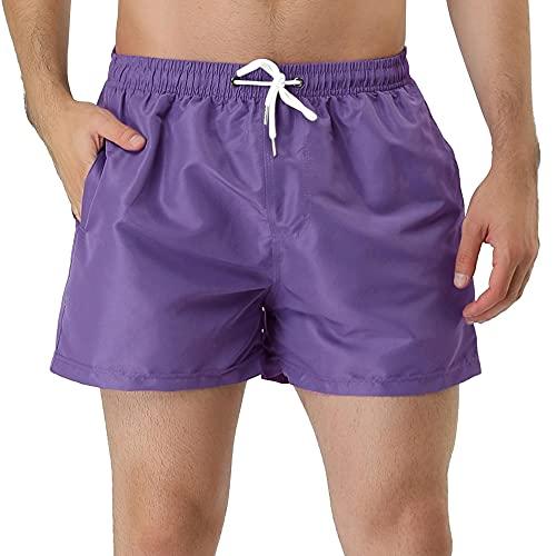 Lars Amadeus Men's Purple Swim Shorts Summer Drawstring Waist Color Mesh Lining Swimming Board Shorts 30