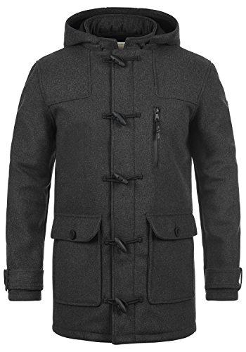 Redefined Rebel Mozart Herren Winter Mantel Dufflecoat Wollmantel Lange Winterjacke mit Stehkragen, Größe:XL, Farbe:Mid Grey Melange
