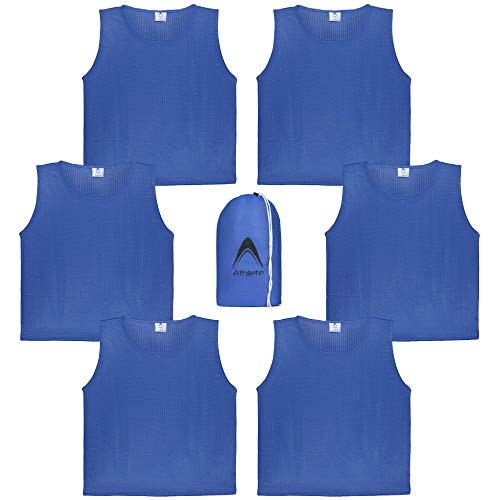 Athllete DURAMESH Set of 6 - Youth Scrimmage Vests/Pinnies/Team Practice Jerseys with Free Carry Bag (Azure Blue, Medium)