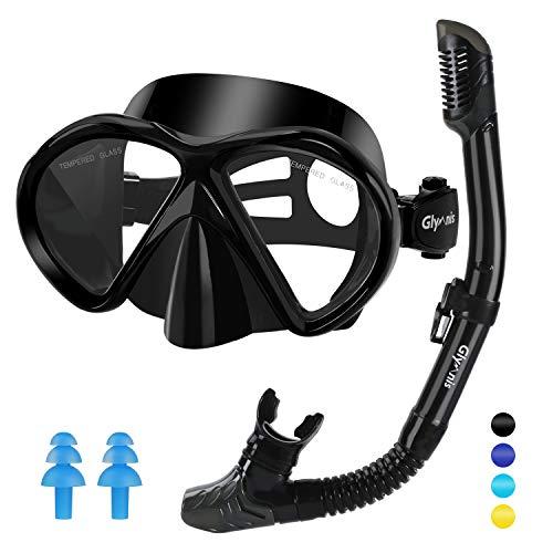 Glymnis Gafas de Buceo Gafas Snorkel Seco Completo Kit de Snorkel Máscara de Buceo y Snorkel Seco Set Máscara Set de Snorkel Profesional para Adultos y Jóvenes Hombre y Mujer Nergo
