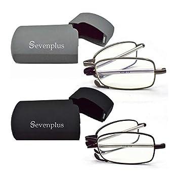 2 Pack Reading Glasses Blue Light Blocking Anti UV Glare Eyestrain Foldable Computer Spring Hinge Readers for Women Man 1.25X
