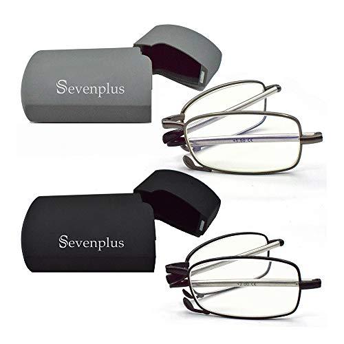 2 Pack Reading Glasses Blue Light Blocking, Anti UV Glare Eyestrain, Foldable Computer Spring Hinge Readers for Women Man 1.50X