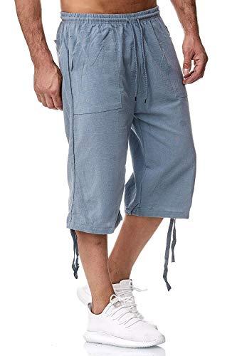 Herren Shorts 3/4 Loose Fit Bermuda Pants Kurze Sommer Hose, Farben:Hellblau, Größe Shorts:XXL