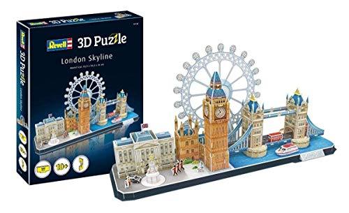 Revell 3D Puzzle 00140 Skyline mit Buckingham Palace, London-Eye, Tower Bridge und Big Ben Die Welt in 3D entdecken, Bastelspass für Jung und Alt, farbig