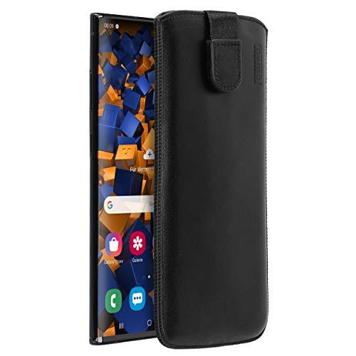 mumbi Echt Ledertasche kompatibel mit Samsung Galaxy Note10+ Hülle Leder Tasche Case Wallet, schwarz