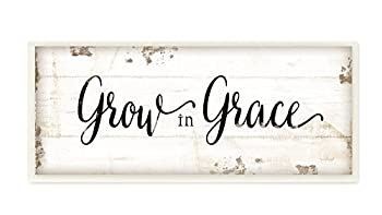 Stupell Industries Grow In Grace Cursive Typography Wall Plaque Art 7 x 0.5 x 17 Proudly Made in USA