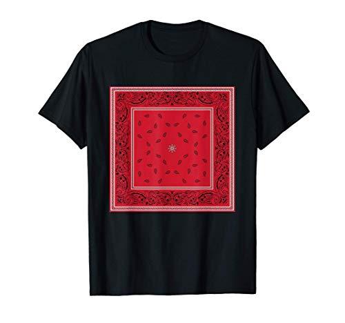 Mens Red Bandana Print Royal Paisley Pattern Black or White Tee T-Shirt