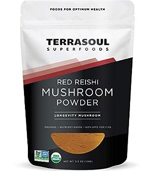 Terrasoul Superfoods Organic Reishi Mushroom Powder  4 1 Extract  5.5 Oz - Immune Boosting | Coffee Enhancer | Deeper Sleep