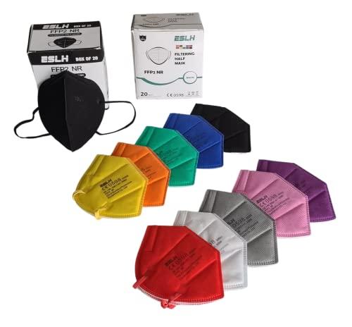 40 bunte FFP2 Masken CE zertifiziert: 20x FFP2 Maske schwarz und jeweils 2x FFP2 Maske bunt in rot gelb grün blau orange grau lila braun schwarz weiß Bestbewertung vom Institut Palas aus Deutschland