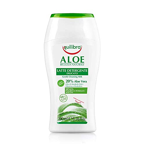 Equilibra Viso, Aloe Latte Detergente, Latte Detergente Viso Delicato a Base di Aloe Vera, Adatto a Pelli Sensibili, Struccante, Idratante, Lenisce e Riequilibra la Pelle, 200 ml