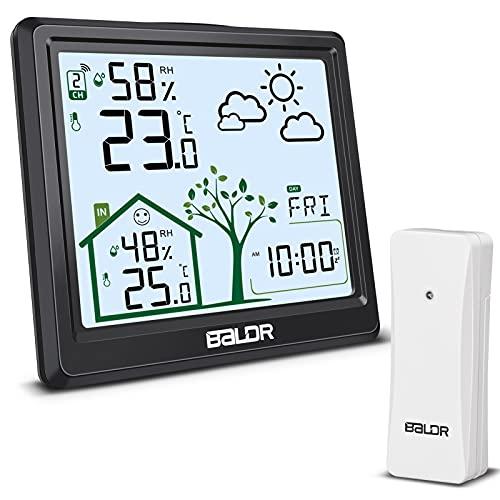 Wetterstation Funk mit Außensensor, Groß Digital Thermometer Hygrometer Innen Außen, Raumthermometer Feuchtigkeit Funkwetterstation mit Wettervorhersage, Uhrzeit, Temperatur und Wecker (Schwarz)