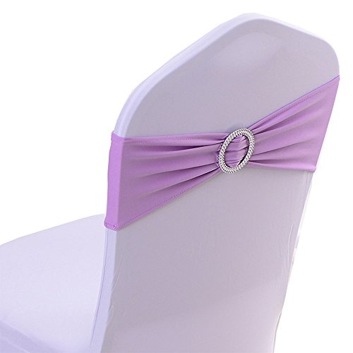 Spandex Chair Cover Stretch Band With Buckle Slider Sashes Bow Wedding Banquet Decoration 10PCS (Light Purple)