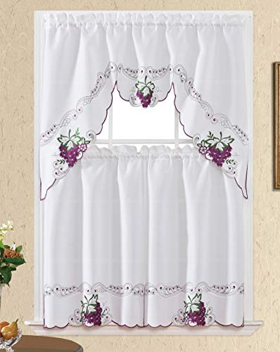 Sweet Harvest. 3pcs Kitchen Cafe Curtain Set. Nice Embroidery Fruit Design with Cutworks. (Swag and 36 inches Tiers Set, Purple Grape)
