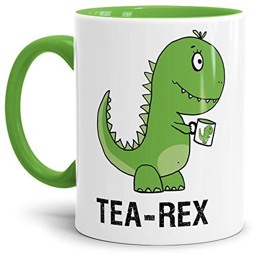 Dino-Tasse Tea-Rex Geschenk-Artikel/Liebes-Tasse/Witzig/Paar/Liebe/Kaffeetasse/Teetasse/Dino-Saurier/Innen & Henkel Hellgrün