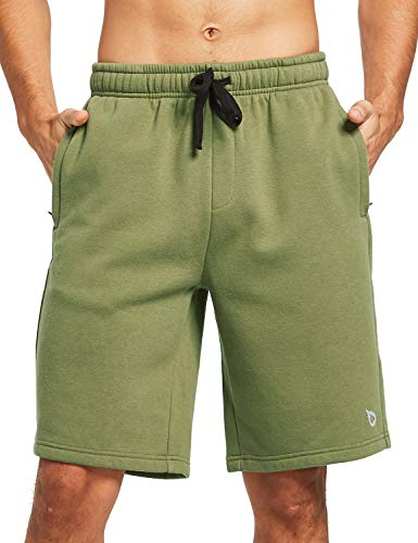 BALEAF Men's Fleece Gym Shorts Cotton 9 Inches with Zipper Pockets for Home Fitness Jogger Casual Army Green XXXL