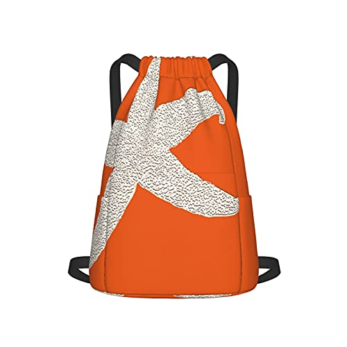 Mochila con cordón para deporte, gimnasio, gimnasio, naranja, grande, estrella de mar, unisex, bolsa de viaje, con bolsillo lateral para gimnasio, compras, deporte, yoga