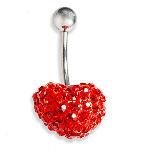 Navelpiercing Swarovski element rood hart