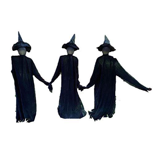 Halloween Witches Visiting Light-up Props 3 PCS / set Halloween Control de voz Inducción luminosa 3 personas agarradas de la mano Bruja, para casa embrujada Accesorios de fiesta Decoración Accesorios