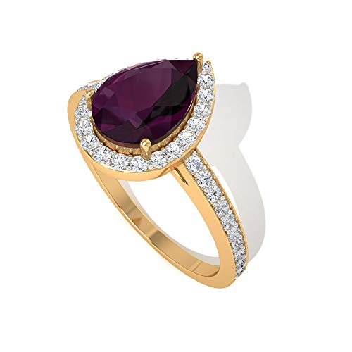 Anillo de compromiso con halo de diamante certificado IGI en forma de pera de cristal de rubí de 1,38 ct, antiguo rojo de julio de piedra natal de lágrima