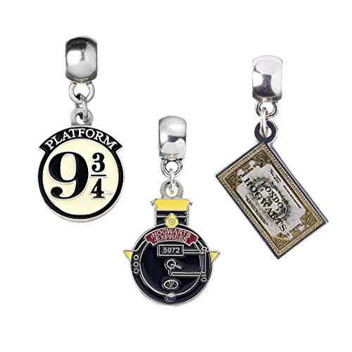 Harry Potter The Carat Shop - Juego de dijes chapados en plata – Hogwart's Express, billete de tren, plataforma 9 3/4