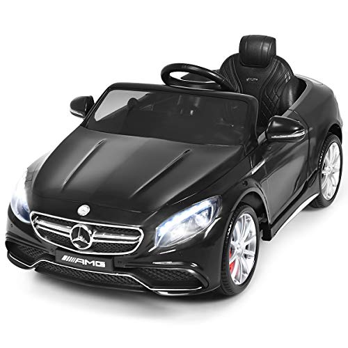 Costzon Ride On Car, 12V Licensed Mercedes Benz Battery Powered Electric Vehicle w/ 2.4G Remote Control, 3 Speeds, LED Lights, Music, Horn, MP3/USB/TF, Ride On Power Wheel for Kids (Black)