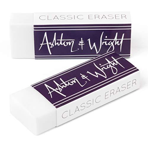 Ashton and Wright - Borrador clásico - Caucho plástico sin látex - Pack de 2 unidades, color blanco, AW-ER-W2