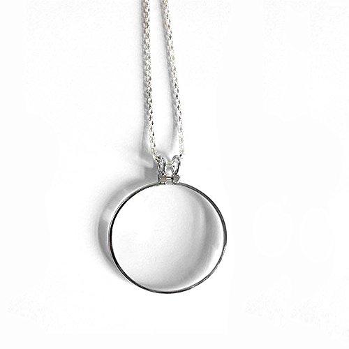 Handlupe Klassische Lupe Glas Konvexlinse Alter Mann Lesebrille 6X Dame Halskette Lupe Silberfarbe Anhänger 42Mm Breite Halskette 900Mm