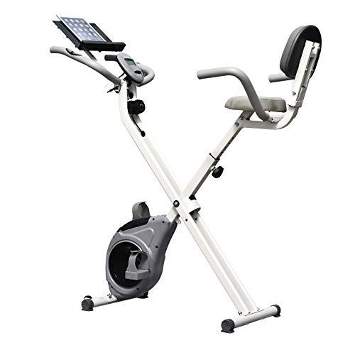 HOMCOM Vélo d'appartement Pliable Grand Confort Dossier Selle réglable poignées ergonomiques écran LCD Multifonction Support Tablette Acier Blanc Gris