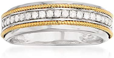 Ross Simons 0 25 ct t w Diamond 2 Tone Ring in Sterling and 14kt Yellow Gold Size 7 product image