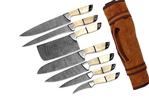 G26- Professional Kitchen Knives Custom Made Damascus Steel 7 pcs of Professional Utility Chef Kitchen Knife Set with Chopper / Cleaver White & Black GladiatorsGuild