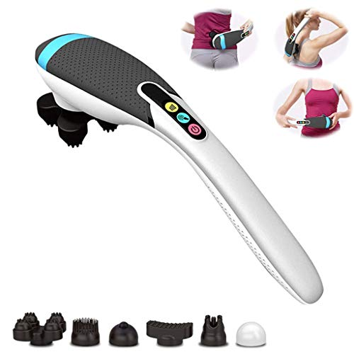 DONGBALA Deep Tissue Massager, Hand Held Massager for Muscles Back Foot Neck Shoulder Leg Calf Pain Relief with 6 Massage Heads Best Gifts for Women/Men