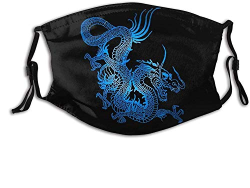 Dragon Face Mask Scarf, Reusable Washable Decorative Masks with 2 Pcs Filters, for Adult Women Men & Teens-Blue Chinese Dragon 10-1 PCS