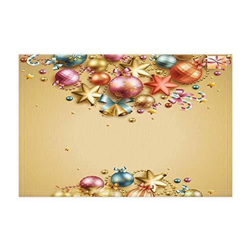 ottbrn Nieuwjaar gouden bol kerstdecoratie vakantie badmat festival winter ballen Kerstmis voor kinderen douchemat 15,7 x 23,6 inch voetmat voor decoratie binnen en badkamer
