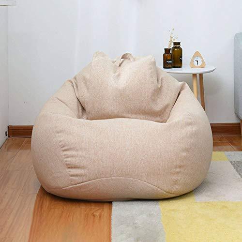 JHLD Sitzsack Stühle Sofabezug Ohne Füllung, Liege Sitzsack Baumwolle Und Leinen Birnenförmigen Sitzsack Mit Abnehmbarer Und Waschbarer Beutel Für Kinder Erwachsene-Khaki-Small