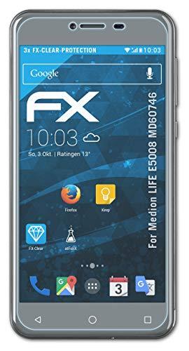 atFolix Schutzfolie kompatibel mit Medion Life E5008 MD60746 Folie, ultraklare FX Bildschirmschutzfolie (3X)