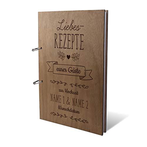 Hochzeit Gästebuch Okoume Holz Gravur individuell Holzcover mit 144 Naturpapier Innenseiten DIN A4 hoch 215 x 302 mm - Rezeptbuch