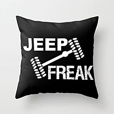 Decorative Pillow Case Jeep Freak Funny Cushion Cover 18 x 18 by Yahouse